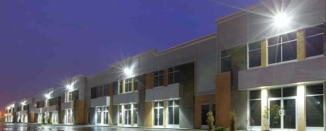 led wall packs mounted on commercial building