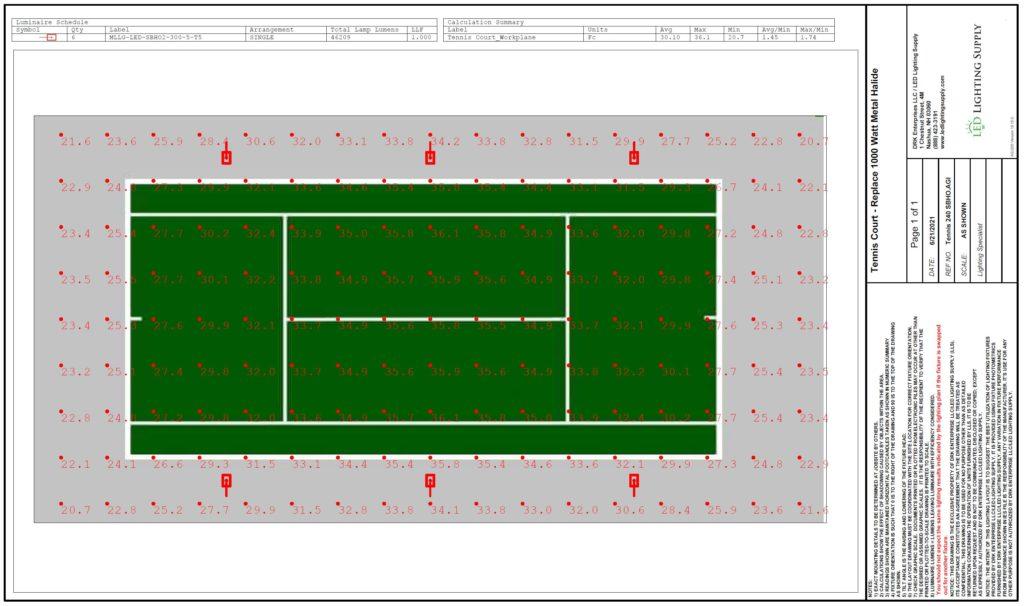Tennis Court Lighting Plan